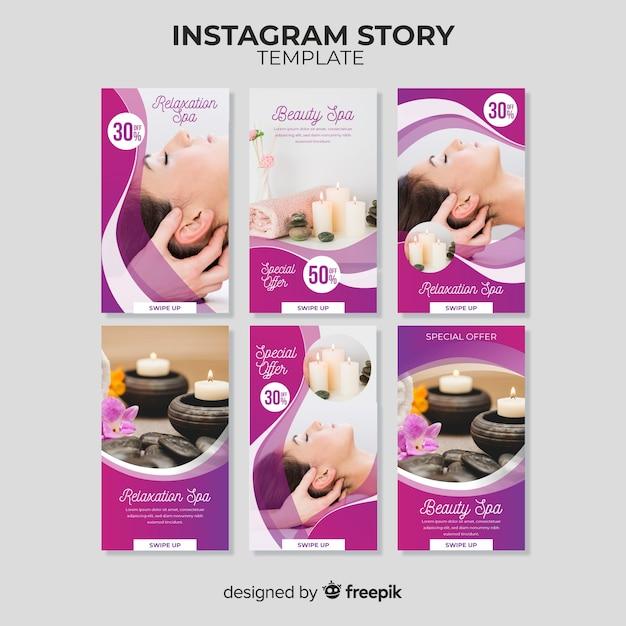 Plantilla de instagram stories de spa vector gratuito