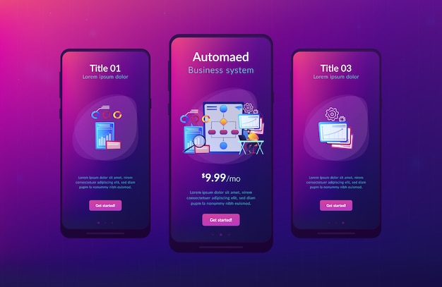 Plantilla de interfaz de aplicación de automatización de procesos de negocios (bpa) Vector Premium
