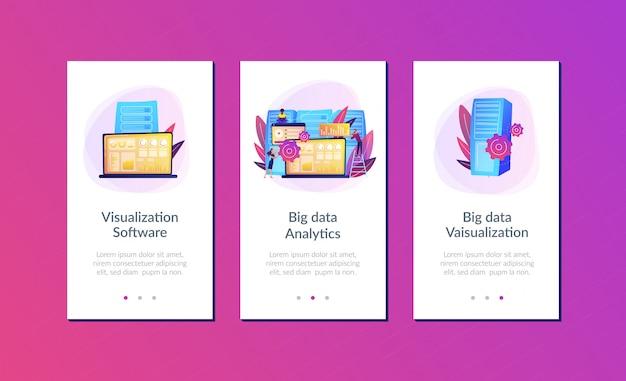 Plantilla de interfaz de la aplicación de visualización de datos grandes. Vector Premium