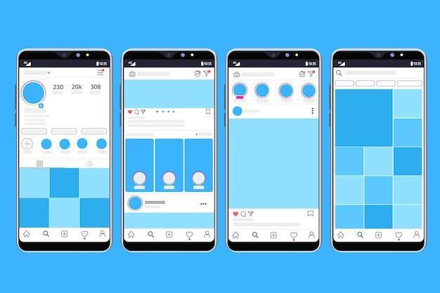 Plantilla de interfaz de perfil de instagram con diseño móvil vector gratuito