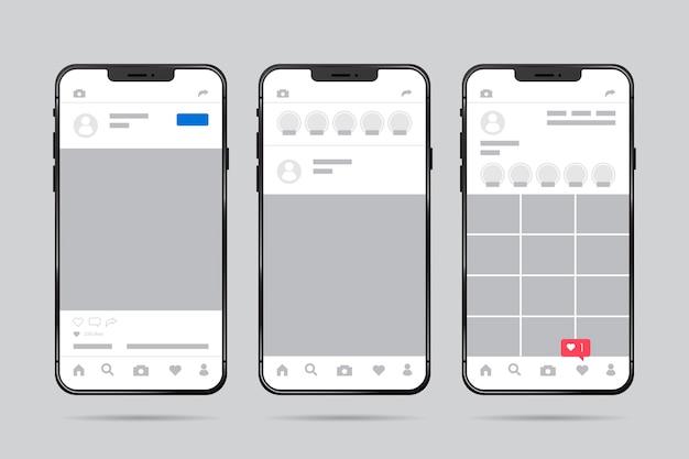 Plantilla de interfaz de perfil de instagram con teléfono móvil vector gratuito