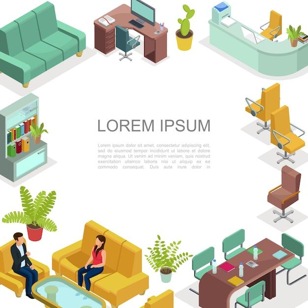 Plantilla interior de oficina isométrica con mesas cómodas sillas sofá sillones estantería plantas impresora hablando colegas espacio de trabajo para negociación comercial vector gratuito