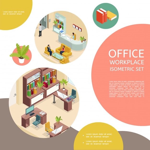 Plantilla interior de oficina isométrica con muebles y gente de negocios vector gratuito