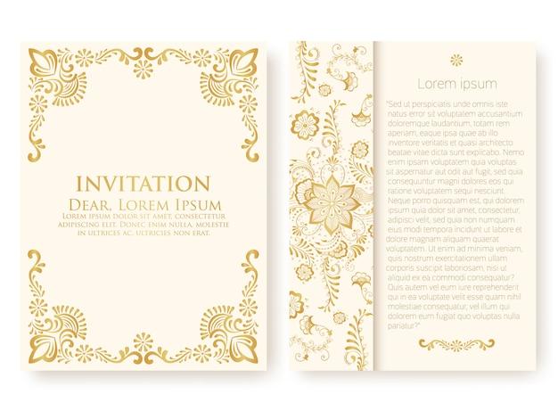 Plantilla de invitación con adornos abstractos vector gratuito