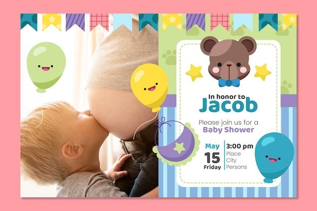 Plantilla de invitación de baby boy ducha vector gratuito