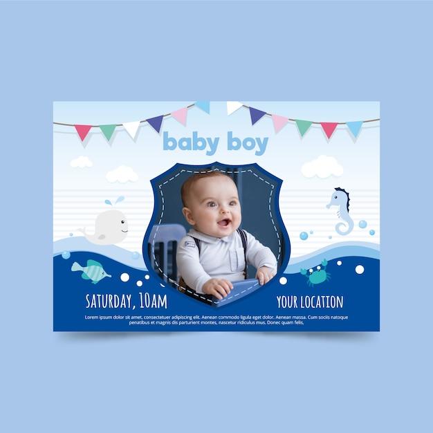 Plantilla de invitación de baby shower para diseño de niño vector gratuito