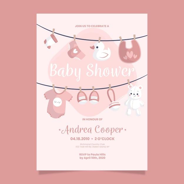Plantilla de invitación de baby shower para niña vector gratuito