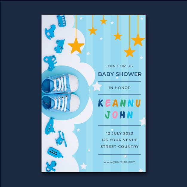 Plantilla de invitación de baby shower para niño vector gratuito