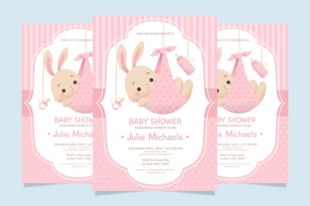 Plantilla de invitación de baby shower vector gratuito
