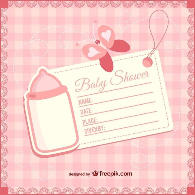 Plantilla De Invitación De Bebé Niña Vector Gratis