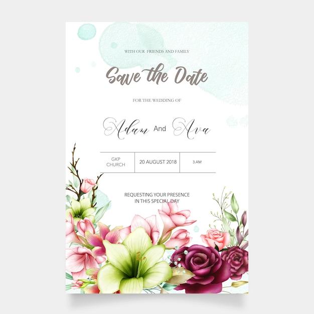 Plantilla de invitación de boda con acuarela amarilis y flores color de rosa Vector Premium