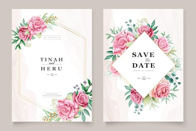 Plantilla de invitación de boda acuarela floral vector gratuito