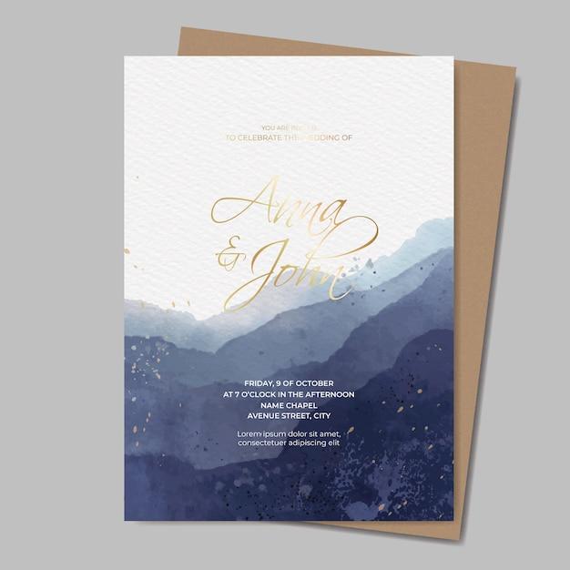 Plantilla de invitación de boda acuarela con texto dorado vector gratuito