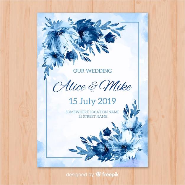 Plantilla de invitación de boda en acuarela vector gratuito