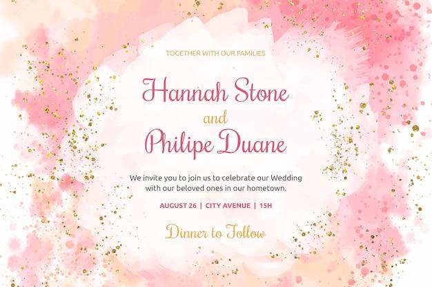 Plantilla de invitación de boda acuarela vector gratuito