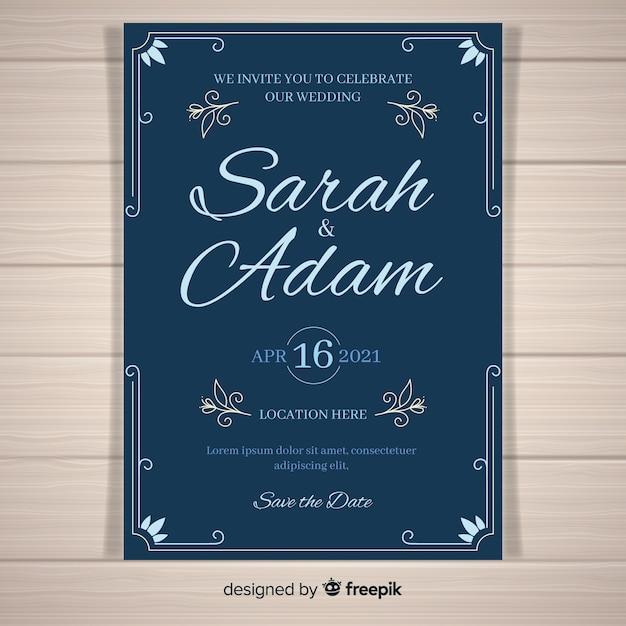 Plantilla de invitación de boda con adornos elegantes vector gratuito