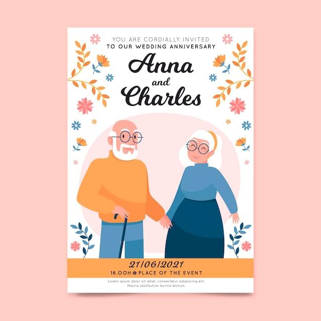 Plantilla de invitación de boda con ancianos ilustrados vector gratuito