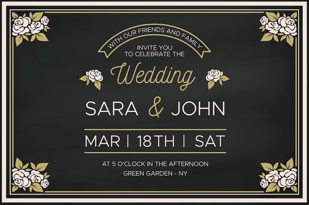 Plantilla de invitación de boda con borde floral retro vector gratuito