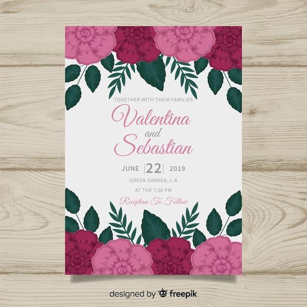 Plantilla de invitación de boda colorida floral vector gratuito