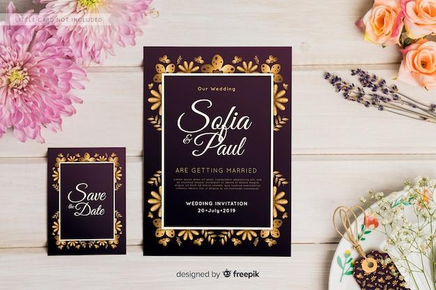 Plantilla de invitación de boda en diseño plano vector gratuito