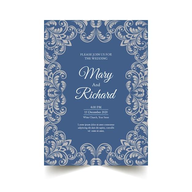 Plantilla de invitación de boda elegante estilo damasco vector gratuito