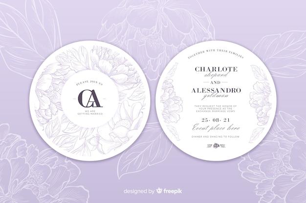 Plantilla de invitación de boda elegante y floral vector gratuito