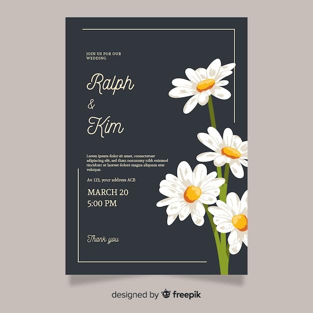 Plantilla de invitación de boda elegante con flores vector gratuito