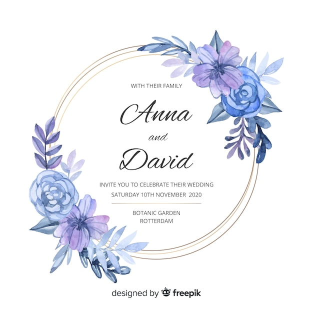 Plantilla de invitación de boda elegante marco floral acuarela vector gratuito