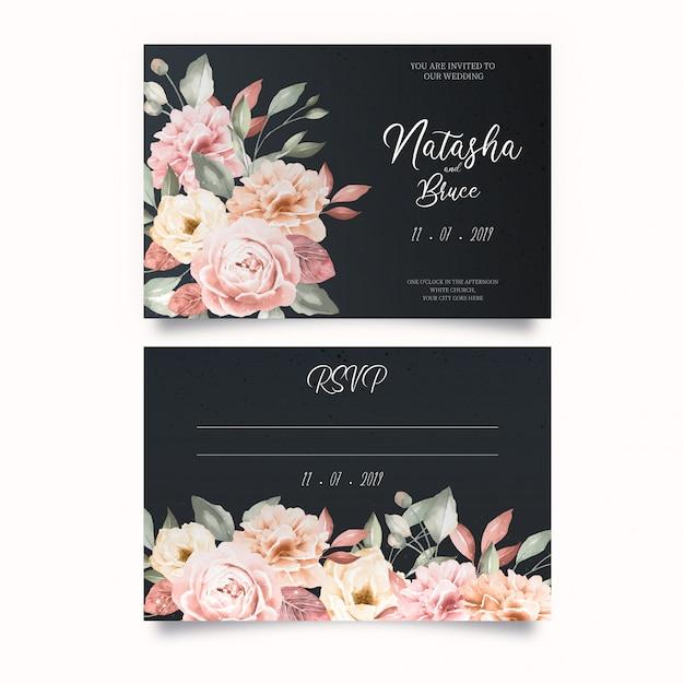 Plantilla de invitación de boda elegante vector gratuito
