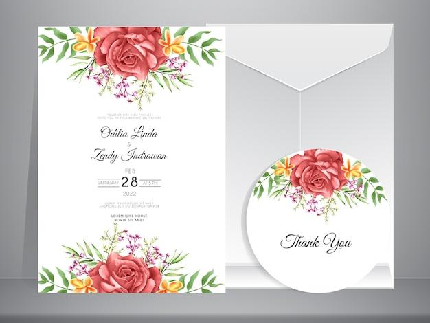 Plantilla de invitación de boda con elegantes rosas dibujadas a mano Vector Premium