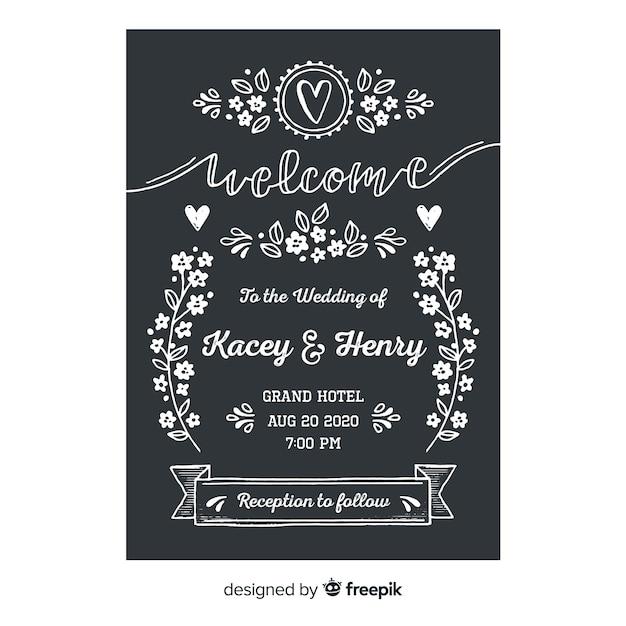 Plantilla de invitación de boda en estilo vintage vector gratuito