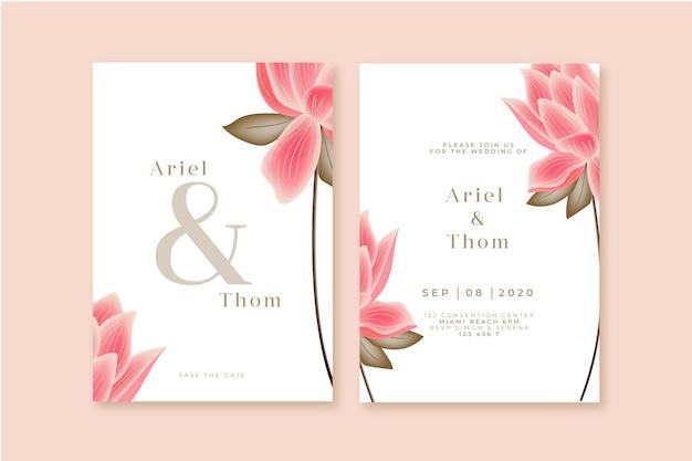 Plantilla de invitación de boda con una flor grande vector gratuito