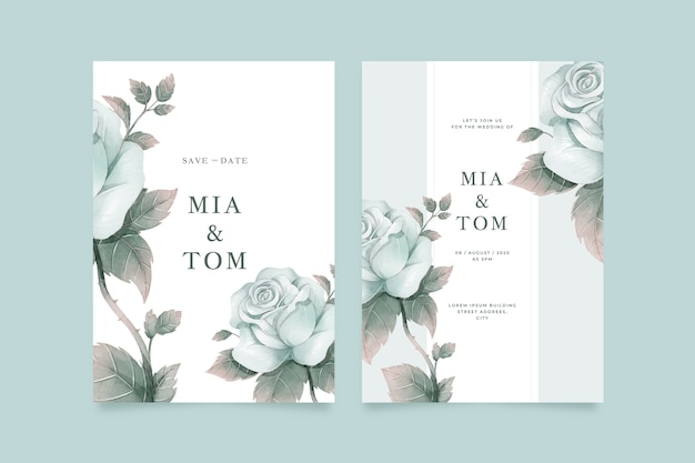 Plantilla de invitación de boda flor grande vector gratuito