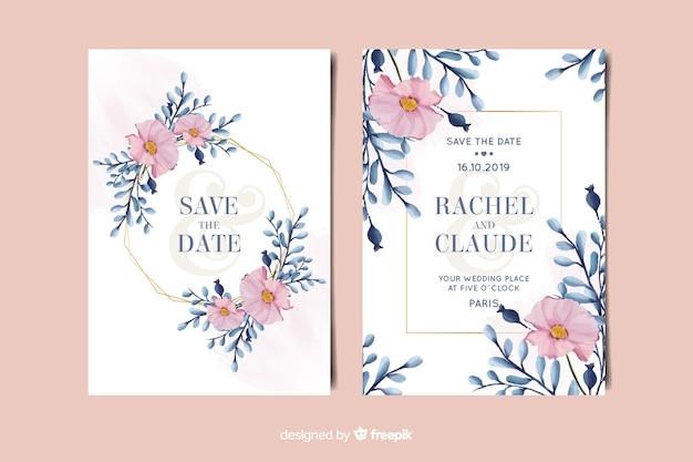 Plantilla de invitación de boda floral acuarela vector gratuito