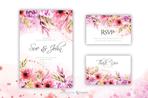 Plantilla de invitación de boda floral bloomin vector gratuito