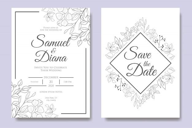 Plantilla de invitación de boda floral dibujado a mano Vector Premium