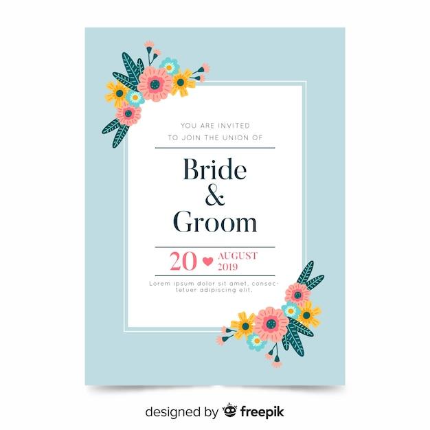 Plantilla de invitación de boda floral en diseño plano vector gratuito