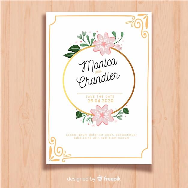 Plantilla de invitación de boda floral elegante vector gratuito