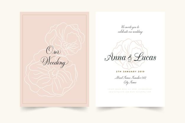 Plantilla de invitación de boda floral minimalista elegante vector gratuito