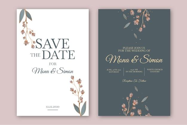 Plantilla de invitación de boda floral minimalista Vector Premium