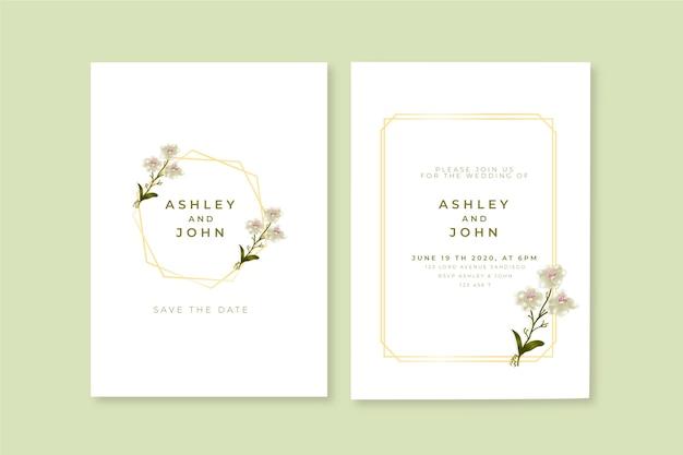 Plantilla de invitación de boda floral minimalista vector gratuito