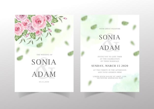 Plantilla de invitación de boda floral Vector Premium