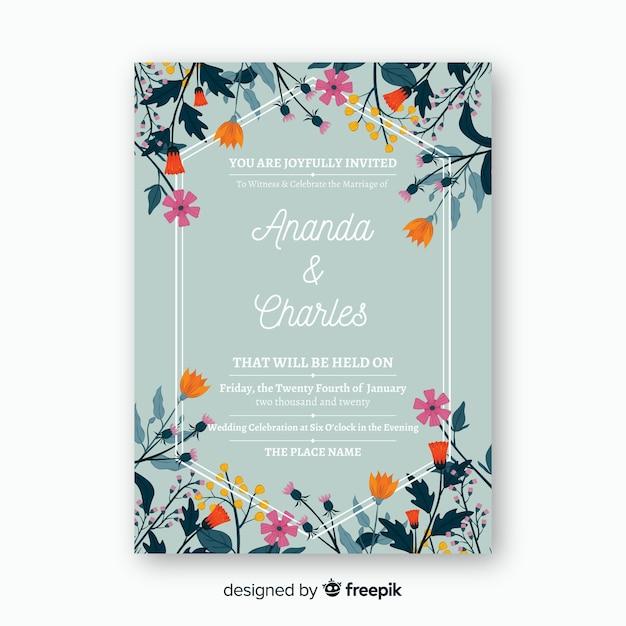 Plantilla de invitación de boda floral vector gratuito