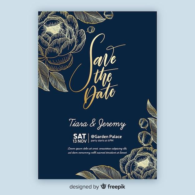 Plantilla de invitación de boda con flores doradas vector gratuito