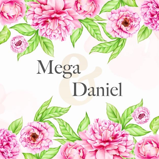 Plantilla de invitación de boda con flores de peonía acuarela Vector Premium