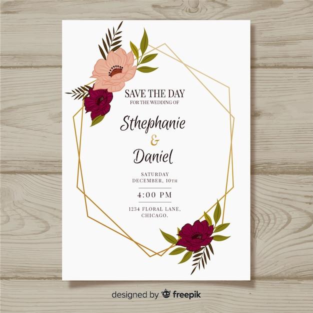 Plantilla de invitación de boda con flores vector gratuito