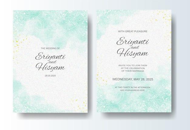 Plantilla de invitación de boda con fondo de acuarela y splash Vector Premium