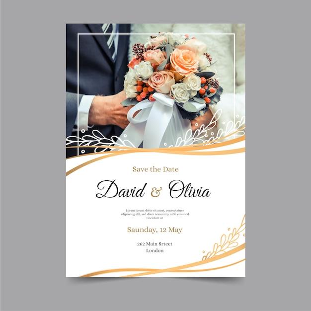 Plantilla de invitación de boda con foto vector gratuito