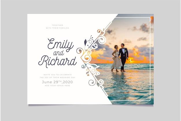 Plantilla de invitación de boda con foto Vector Premium