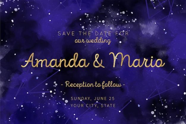 Plantilla de invitación de boda galaxia acuarela vector gratuito